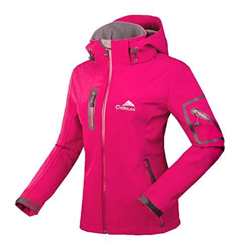 Minetom Damen Softshelljacke Wasserdicht Outdoor Atmungsaktiv Funktionsjacke Sport Winterjacke Wanderjacke Skijacke Warm Fleece Mantel Parka mit Kapuze Rose 38