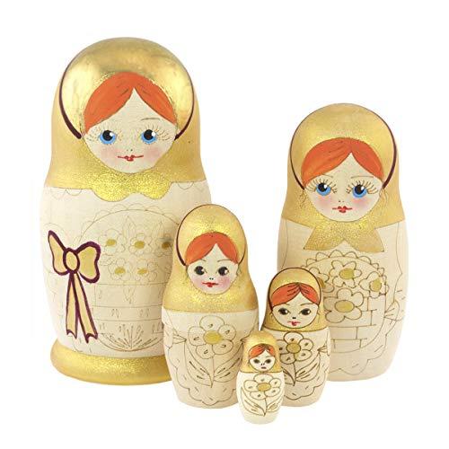 Azhna Matrjoschka, 5 Stück, Souvenir, Matroschka, Heimdekor-Kollektion, ineinander verbrannte und handbemalte russische Puppe, 10,5 cm, Holzpuppe (orange)