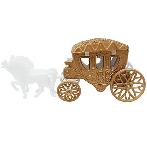 Mini Cinderella Horse & Carriage Coach Set Cake Topper Centerpiece Keepsake - Dark Gold