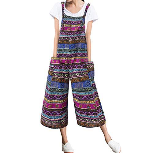 Ansenesna Latzhose Damen 3/4 Lang Weites Bein Vintage Elegant Overall Frauen Mit Taschen Locker Baumwolle Leinen Jumpsuit