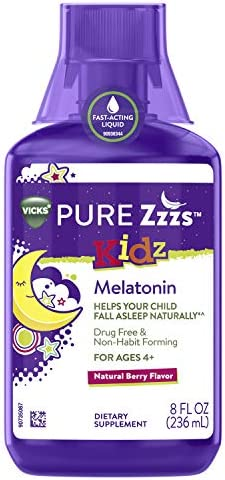 Vicks PURE Zzzs Kidz Melatonin Sleep Aid Liquid for Kids and Children Natural Berry Flavor Non product image
