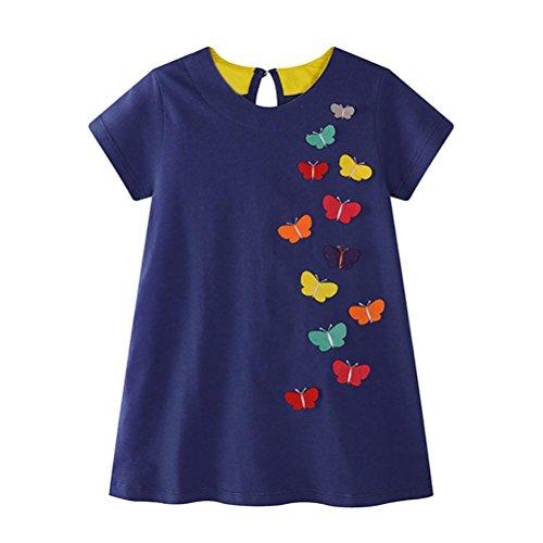 JERFER Mädchen Liebe Punkt Streifen T-Shirt Top Bluse Kurzarm-Shirt 1.5-6Jahre (Blau, 3T)