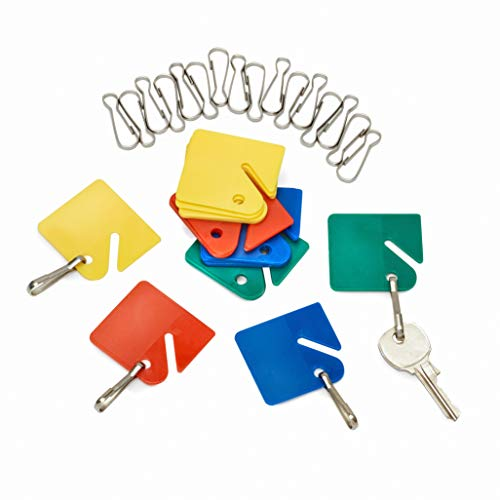 AdirOffice Colored Hanging Key Tags - Well Made Plastic Tags with Durable Hook - Ease of Tactile Identification for Home & Office - Pack of 20