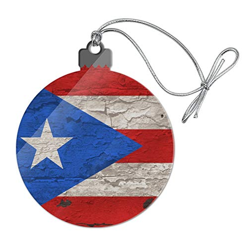 GRAPHICS & MORE Rustic Distressed Puerto Rico Flag Wood Look Acrylic Christmas Tree Holiday Ornament