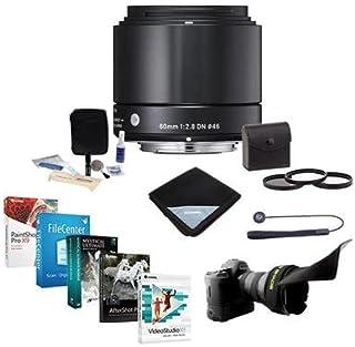 Sigma 60mm f / 2.8DNアートレンズfor Micro Four Thirdsカメラ、ブラック–Bundle with 46mmフィルターキット( UV / CPL / nd2、Flexレンズシェード、レンズキャップ、リーシュクリーニングキット、レンズ、ラップProソフトウェアパッケージ