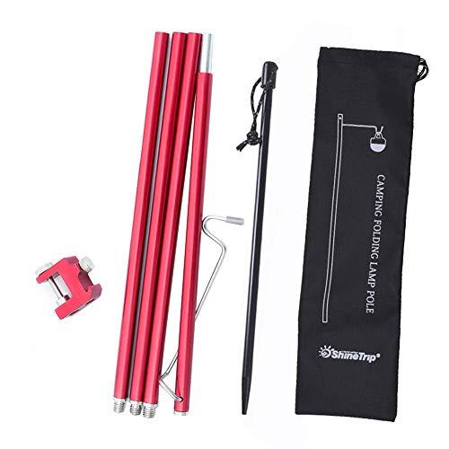 Nrkin - Barra telescópica para tienda de campaña, barra de aluminio ultraligera, ajustable, barra de camuflaje Tents Tarp Pole, barra de lona de aluminio, barra para camping, senderismo, accesorios,, Unisex adulto, rojo
