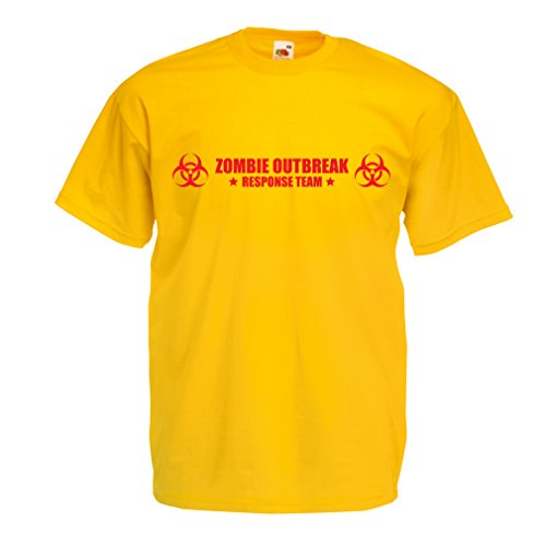 N4519 Männer T-Shirt Zombie Outbreak Response Team (XX-Large Gelb Rote)