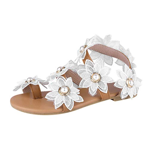 Sandalias de tiras para mujer, sandalias planas de boda, sandalias de encaje blanco, sandalias de tiras con puntera abierta, sandalias de encaje para la playa, color Blanco, talla 38 EU