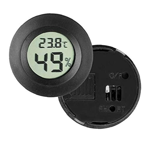 YepYes 4PCS LCD Digital Hygrometer Thermometer, Indoor Outdoor Humidity Meter Temperature Gauge Black Round
