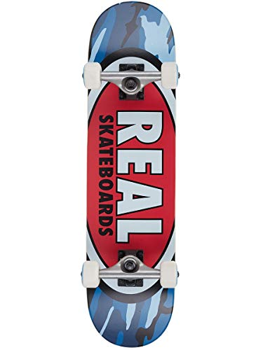 Real Team Oval Camo Mini Factory - Skateboard completo multistrato, 18,5 cm