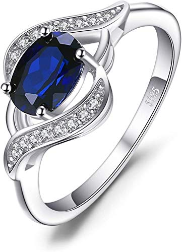 necklace Ladies fashion Create a sapphire ring declarations silver, ring size: L Hoisting (Size : 61 * 19.4mm)