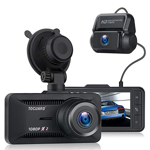 "TOGUARD Dual Dash Cam, 1080P Front and Rear Dash Camera for Cars, 3"" IPS Screen Supercapacitor Car Camera Video Driving Recorder w/Wide Angle G-Sensor Loop Recording, Support External GPS Logger"