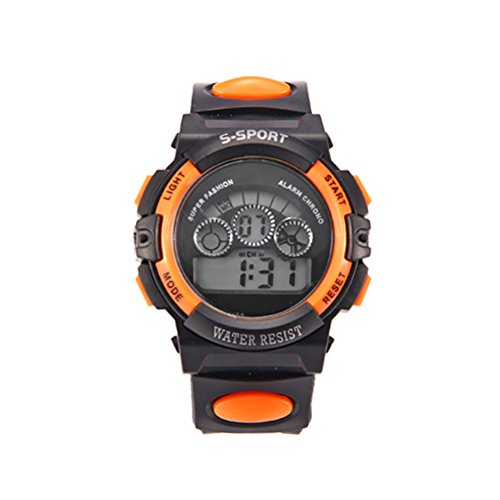 Kinder Sport-Armbanduhr, mit LED-Display, Alarm, Datum, Orange, Einheitsgröße