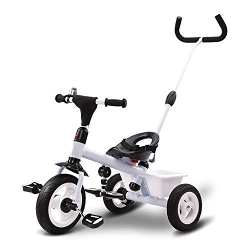 NBgy driewieler, kinderfiets, 3-wielige fiets, 2-6 jaar oude kinderfiets met verstelbare duwstang, 3 kleuren, 64x74x47cm