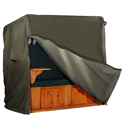 Strandkorb Hanse Schutzhülle aus 600 D Oxford Gewebe mit extra flexiblem Klettverschluss, Premium Strandkorbhülle in grün, Winterfest