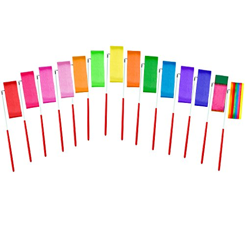 Aneco 14 pieces Dance Ribbons Streamers Rhythmic Gymnastics Ribbon Wands Rods for Art Dances, Baton Twirling, 14 colours