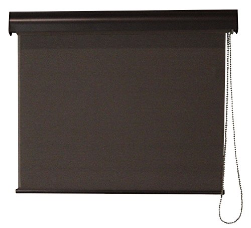 Interior Solar Shade, Commercial Weight Fabric, Aluminum Valance, Cord Operation, Dark Brown, 23-In Width x 72-In Drop