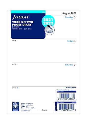 Filofax A5 Wochenansicht auf 2 Seiten, Englisch, Mitte des Jahres, 21. August – 22. Juli.