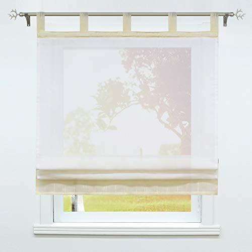 SCHOAL Raffrollo mit Schlaufen Transparente Raffgardinen Modern Schlaufenrollo Gardinen Leinen 1 Stück BxH 120x140cm Beige #1