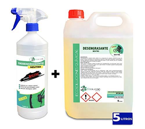 Ecosoluciones Químicas ECO-111 | 5 litros | Desengrasante Neutro para Bicicletas | Protege Todas Las Piezas de la Bicicleta | Desengrasante Cadenas | Incluye PULVERIZADOR