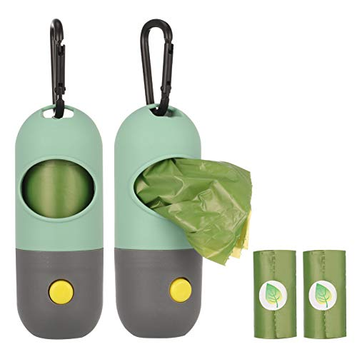 SOSPIRO Hundekotbeutelspender mit LED-Taschenlampe, 2 Stück, inklusive 2 Rollen Hundekotbeutel (grün)