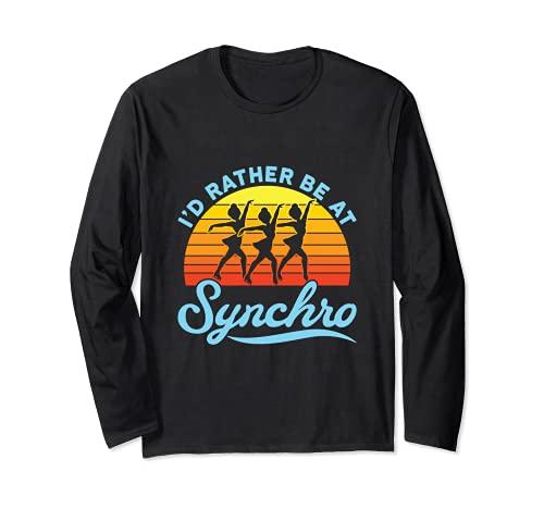 シンクロナイズド スケート フィギュアスケート I'd Rather Be At Synchro 長袖Tシャツ