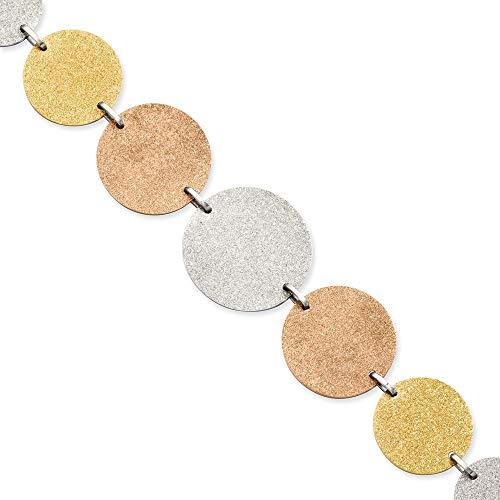 JewelryWeb Acero Inoxidable Tri-Color Discos Bañado en 20,32 cm con Ext Pulsera
