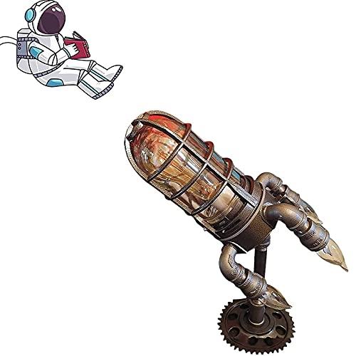 Retro Steampunk Rocket Lámpara de cohete de vapor Punk Rocket Mesa Lámpara Retro Industrial Estilo Anti-Rust Rocket Lámpara Rocket Ship Skip Lámpara Luz Noche Luz Decoración de mesa Lámpara LED Luces