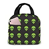 Green Aliens At Night Reusable lunch bag, insulated and cool lunch tote bag, suitable for office and school picnic trips