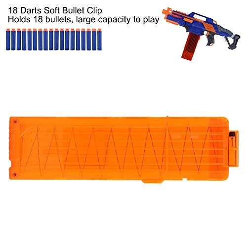 Foam Bullet Clip, sichere 18 Darts Soft Bullets Dart Gun Clips Schnellnachlademagazine Clip Cartridge Holder Universal für Toy Gun Games(Orange Transparent)