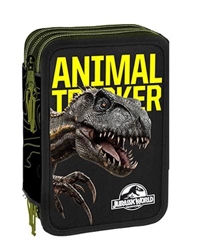 Scuola Estuche Jurassic World Animal Tracker 3 niveles cremallera completo by Gut + llavero Dinosaurio