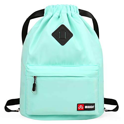 WANDF Drawstring Backpack with Shoe Pocket, String Bag Sackpack Cinch Water Resistant Nylon for Gym...