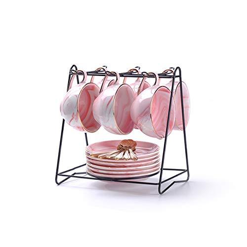 Onregelmatige theelepel gouden plaat kopje thee porseleinen kopje koffie keramische elegant 100 ml september koffie,6cups roze n Holder