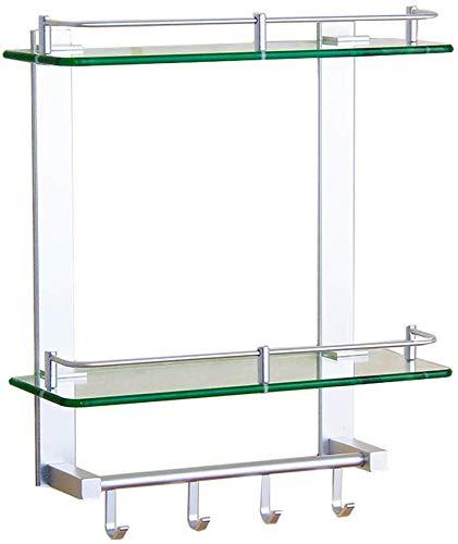 Estante de cristal para baño con costillas elevadas y vidrio esmerilado para ducha, rectangular, para montaje en pared (tamaño 40 cm)