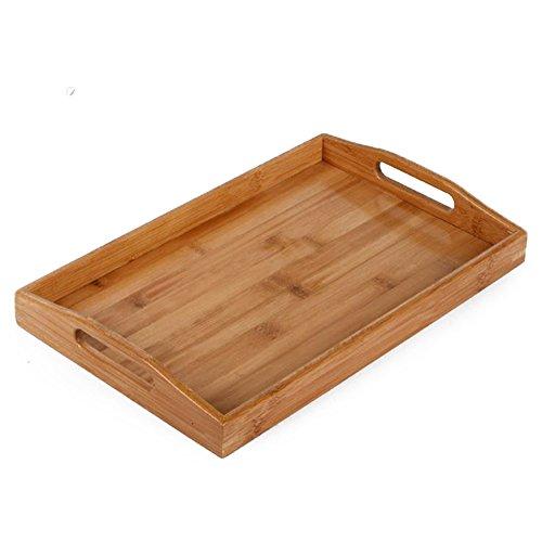 Milopon Plateau de service rectangulaire en bois avec poignée pour restaurant pub bar (32,5 x 19 x 2,8 cm)