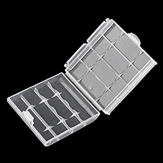 Durable Plastic Battery Storage Box Hard Plastic Case for 4 Pcs AA AAA Batteries Portable Batteries Holder 6cm×1.5cm×6cm - Transparent