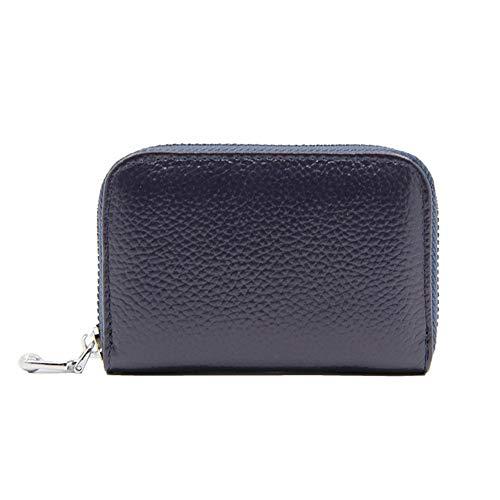 YIXIA Cartera de piel para tarjetas de visita, bolsillo frontal RFID para hombre, funda para tarjetas de crédito, cartera ultrafina (Blau)
