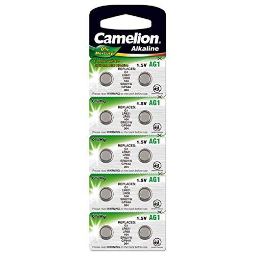 Camelion Knopfzelle, Uhrenbatterie LR60 / AG1 / LR621 / 364 / G1 10er Blister, Alkaline, 1,5V