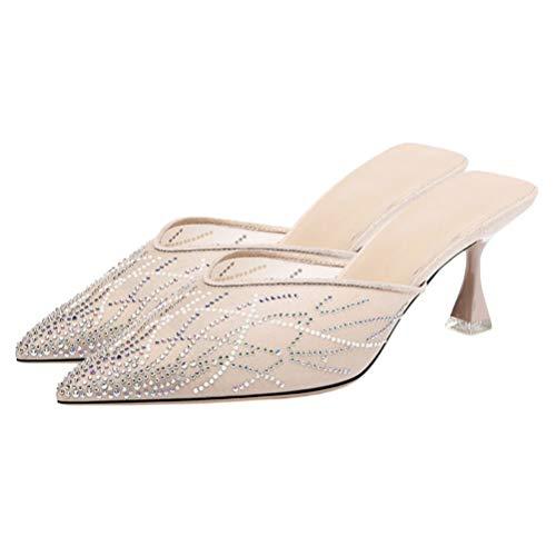Holibanna Mule Slipper for Women Kitten Heel Mules Pointed Toe Slides Shoes for Wedding Dress Party