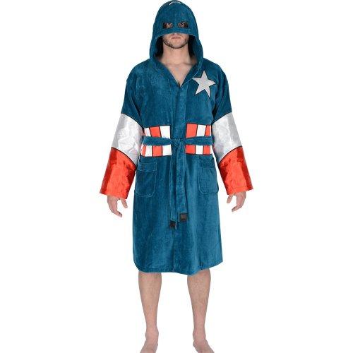 Marvel Captain America Hooded Costume Cotton Bathrobe