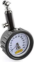 JEGS Compact Tire Pressure Gauge | 0-60 PSI | 1 LB Increments | 45 Degree Air Chuck | Scratch Resistant Lens | Impact Protective Rubber Cover | 1 Per Package