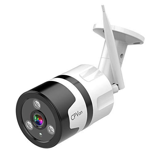 CPVAN Überwachungskamera Außen, 1080P WLAN Außenkamera für Alexa, Nachtsicht Kamera, IP66 Wasserdicht, Zweiwege-Audio, Bewegungserkennung, Drahtloses Sicherheitssystem, Unterstützt bis zu 64G SD.