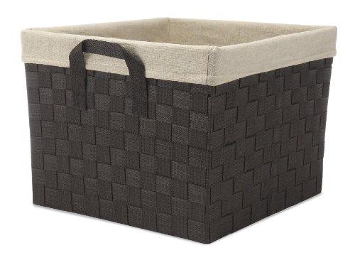 Whitmor Woven Strap Storage Tote Basket WLiner Cream