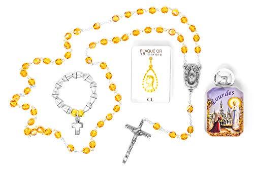 Juego de Regalo católico - Colgante de Oro de la Virgen María, Cuentas de Rosario de Cristal de Bohemia, Botella de Agua de Lourdes y Anillo de Rosario de bellotas