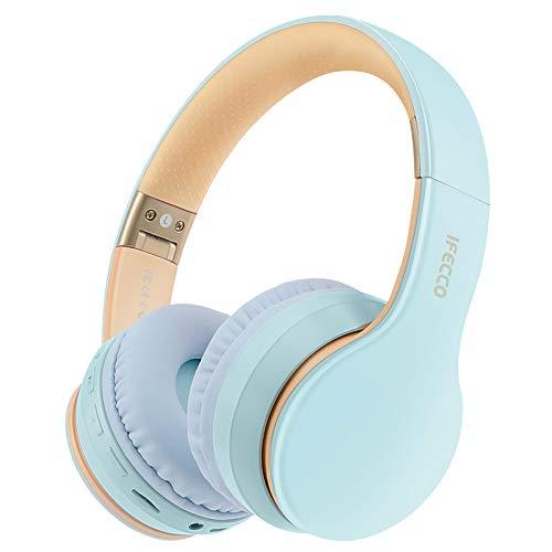 Cascos Bluetooth Diadema, Estéreo Música Auriculares Cerrados Inalámbricos Plegables HiFi con Micrófono Incorporado y Cable, Soporte Micro SD TF FM, para Móviles TV PC MP3(Azul Claro)