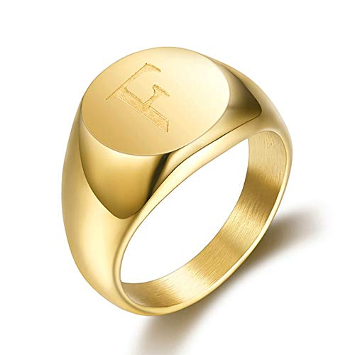 BOBIJOO JEWELRY - Signet Ring Man Initial Engraved on The Choice of Stainless Steel Gold Plated 13mm - Y (12 US), F - Steel 316 - Gold Plated