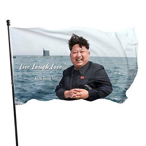 Mural Wall Art Live,Laugh,Love Flag Kim Jong Un Banner College Dorm Decor Indoor Bedroom Sign Heavy Wind With Brass Grommets,Outdoor Sign House Banner Polyester Yard Lawn Outdoor Decor 3x5 Ft New