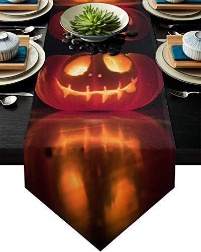 Sayingin - Mantel de mesa, decoración de terror, Halloween, calabaza, fantasma, para el hogar, para cumpleaños, boda, cocina, comedor, fiesta, decoración o tocador, color negro, naranja, 33 x 304 cm