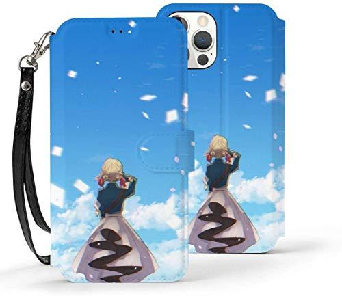 Funda tipo cartera para iPhone 12 Pro, anime Violet Evergarden Cute Girl [función de soporte] de lujo de piel sintética tipo cartera con [ranuras para tarjetas] y [bolsillos para notas]