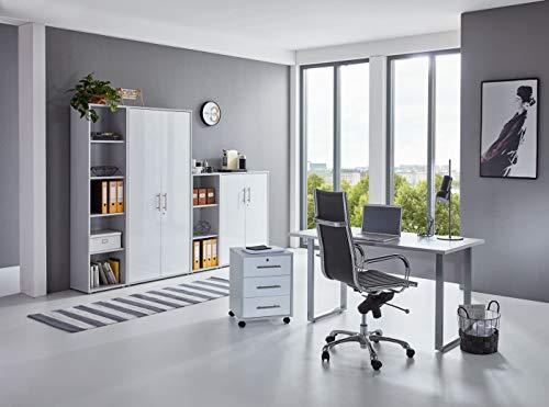 BMG-Moebel.de Büromöbel komplett Set Arbeitszimmer Office Edition Mini in Lichtgrau/Weiß Hochglanz (Set 4)